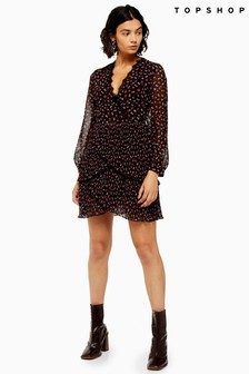 Topshop Pleated Ruffle Floral Dress