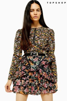 Topshop Floral Print Long Sleeve Tea Top