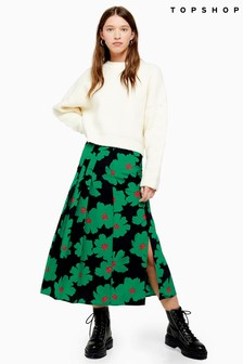 Topshop Bold Floral Box Pleated Skirt