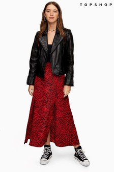 Topshop Spot Animal Austin Skirt
