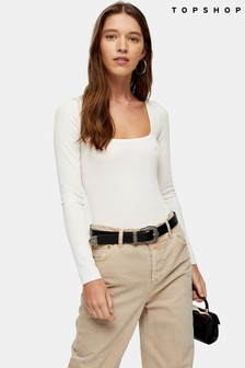 Topshop Ivory Square Neck Long Sleeve Bodysuit