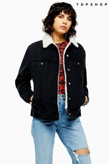 Topshop Oversized Denim Borg Lined Jacket