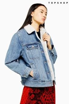 Topshop Oversized Denim Borg Lined Jacket