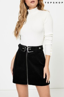 Topshop Corduroy Double Buckle Skirt