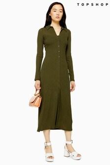 Topshop Ribbed Cardigan Midi Dress