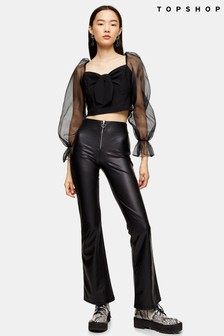 Topshop Leather Look Flared Trouser