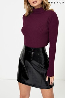 Topshop Faux Leather Vinyl Mini Skirt