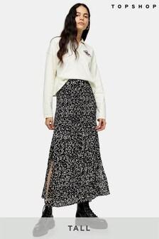 Topshop Tall Floral Pleat Midi Skirt