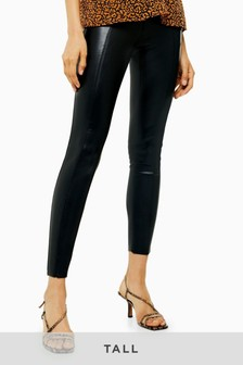 Topshop Tall Faux Leather PU Skinny Trousers