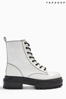 Topshop Alanis Leather Lace Up Boots