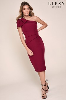 Lipsy One Shoulder Bow Midi Dress