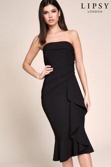 Lipsy Bandeau Ruffle Midi Dress