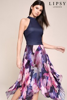 Lipsy Pleated Halter Dress
