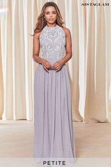 Sistaglam Petite Embellished Halter Neck Maxi Dress