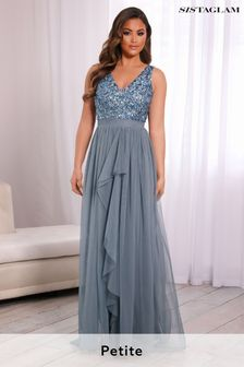 Sistaglam Petite V neck Maxi Dress with Sequin Top