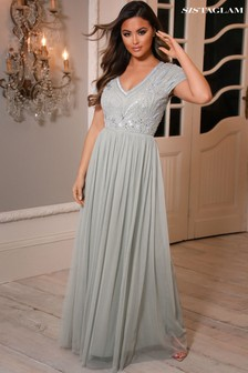 Sistaglam Embellished V neck  Maxi Dress