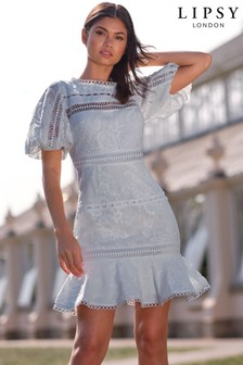 Lipsy Puff Sleeve Lace Skater Dress