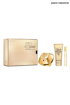 Paco Rabanne Lady Million Eau De Parfum 80ml and Body Lotion 100ml and Travel Spray 10ml Gift Set