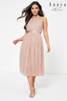 Anaya With Love Bow Back Halter Neck Midi Dress