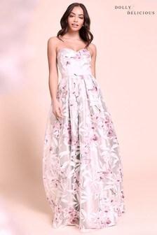 Żakardowa sukienka skater bandeau Dolly & Delicious, w kwiaty