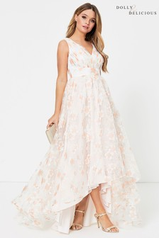 Dolly & Delicious Floral Mesh Detail Skater Dress