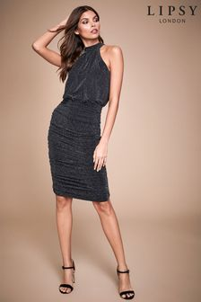 Lipsy Glitter Halterneck Ruched Dress