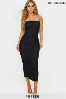 PrettyLittleThing Petite Ruched Strappy Dress