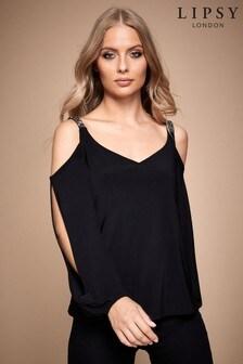 Lipsy Cold-Shoulder Embellished Split Sleeve Top