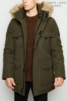 New Look Hooded Faux Fur Trim Parka Coat