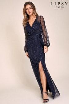 Lipsy VIP Hand Embellished Long Sleeve Maxi Dress