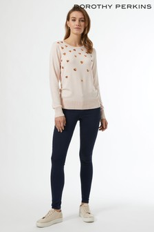 Dorothy Perkins Sequin Heart Crew Neck Jumper