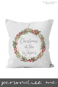 Personalised Christmas Wreath Cushion By Gift Collective