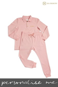 Personalised HA Mini Girls Long Top And Trouser Set By HA Designs