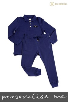 Personalised Mini Boys Long Top And Trouser Set By HA Designs
