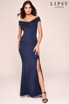 Lipsy Pleat Bardot Maxi Dress