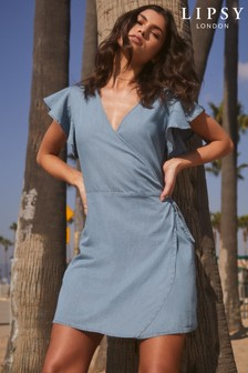 Lipsy Frill Sleeves Wrap Dress