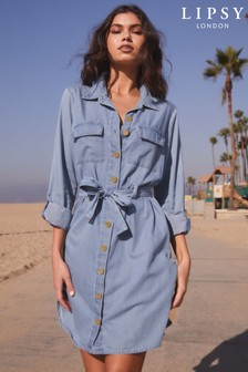 Lipsy Tie Front Shirt Dress