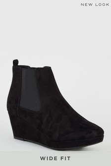 New Look Wide Fit Suedette Platform Wedge Boots