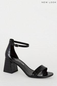 New Look Faux Croc Flared Heel Sandals