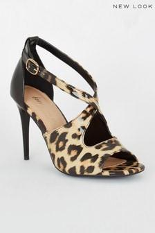 New Look Patent Leopard Print Cross Strap Heels