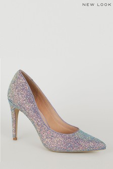 New Look Glitter Pointed Court Shoes