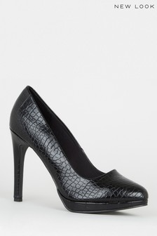 New Look Faux Croc Platform Court Shoes