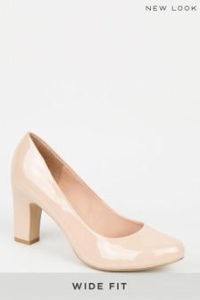 New Look Wide Fit Block Heel Court Shoes