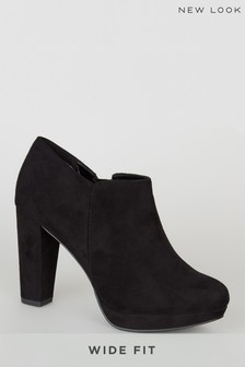 New Look Wide Fit Suedette Platform Shoe Boots