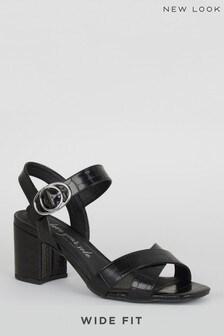 New Look Wide Fit Faux Croc Sandals