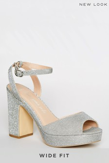 New Look Wide Fit Glitter Platform Block Heels