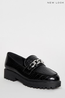 New Look Faux Croc Chain Loafers