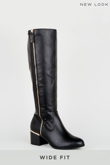 New Look Wide Fit Leather Look Knee High Boots