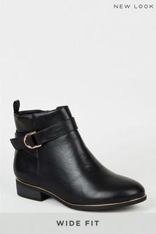 New Look Wide Fit Leather Look Ankle Boots