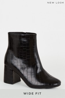 New Look Wide Fit Faux Croc Flared Heel Boots